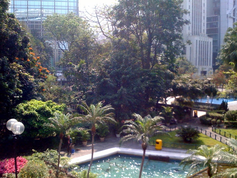 A little utopia in front of the HSBC Building and the Supreme Court of Hong Kong