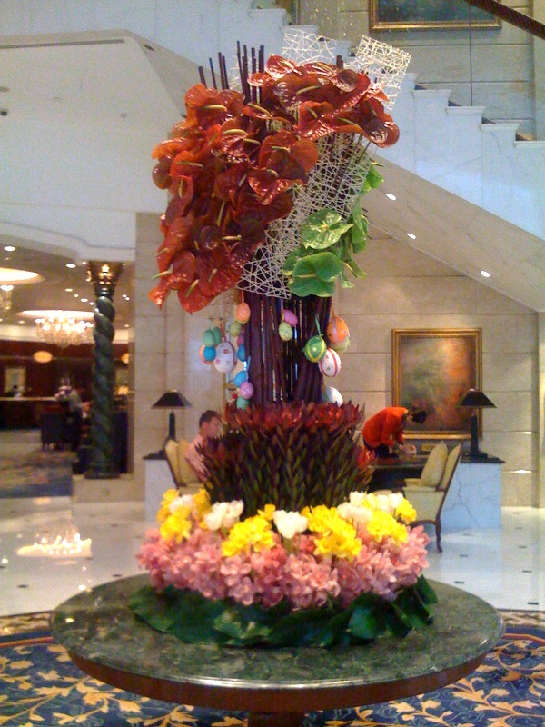Greeted by a lovely Easter flower decoration at the Island Shangri-la Hotel