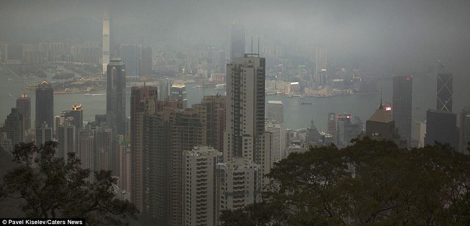 Foggy Victoria Harbour, Hong Kong