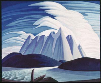 Lake and Mountains (oil on Canvas) by the Group of Seven who initiated the Canadian art movement.