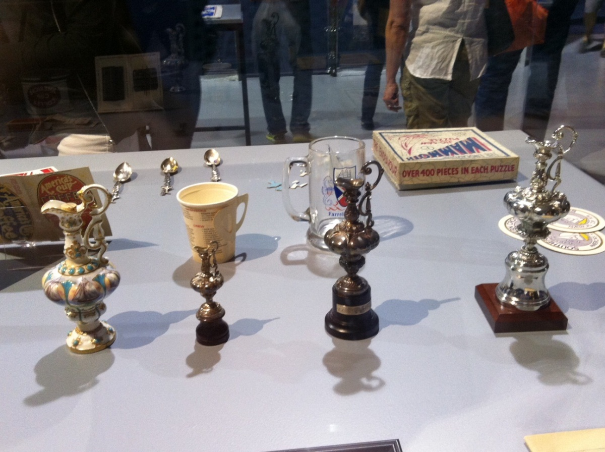 Love these America cup miniatures - they actually grew in size from the original one in 1851 as the results of each race were inscribed on the Cup.