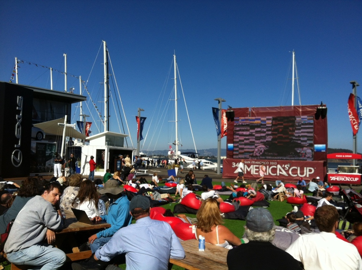Drinks and partying in the Green at the America Cup's Pavilion