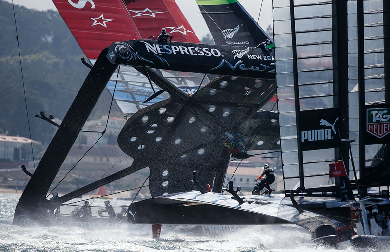 New Zealand almost capsized in Saturday's first race (no, I did not get this close - photo courtesy of San Jose Mercury News)