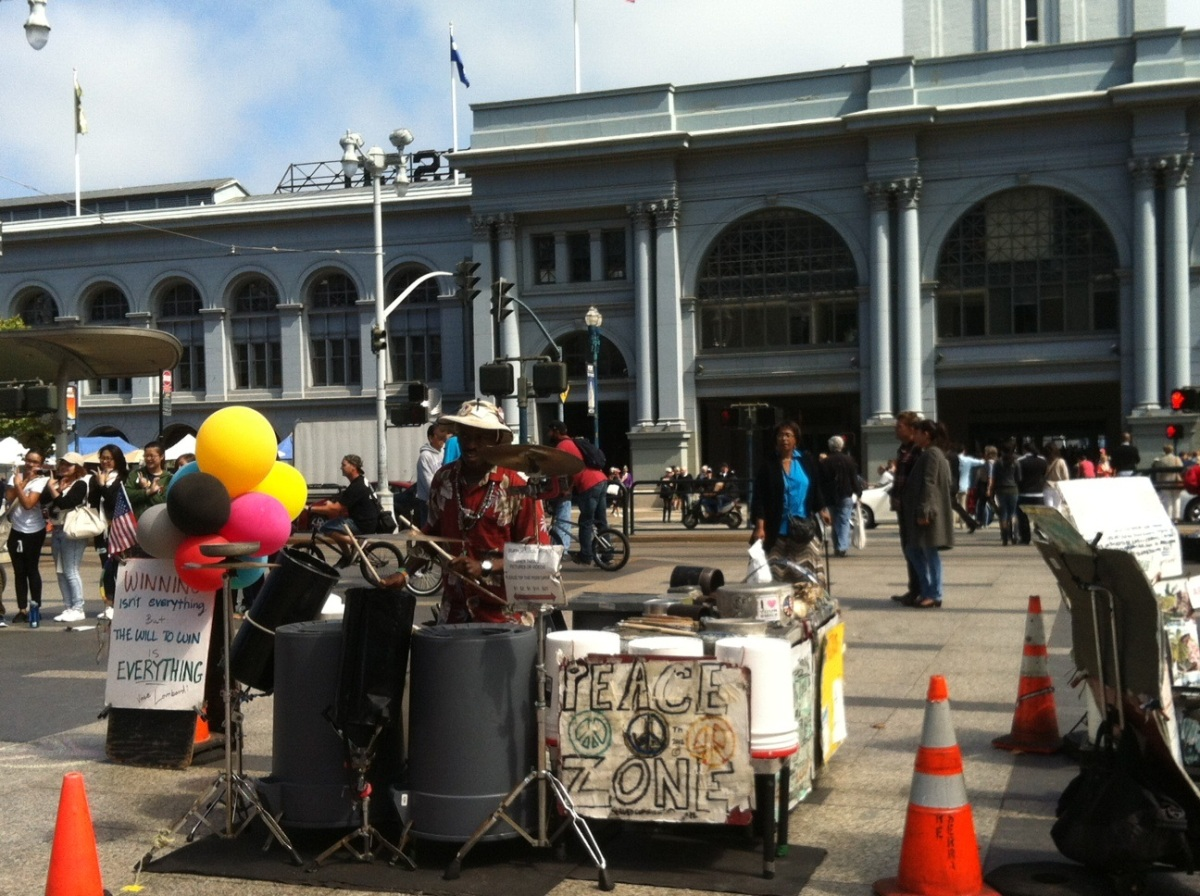 Drumming on garbage cans - the best musician in front of the Ferry Building.