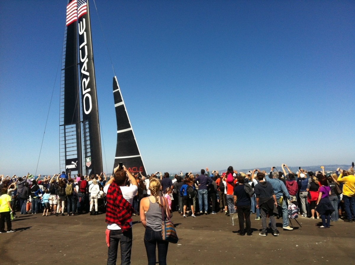 Just my luck - the American yacht - Team Oracle - sailed in front of my very eyes as they returned to their home base!
