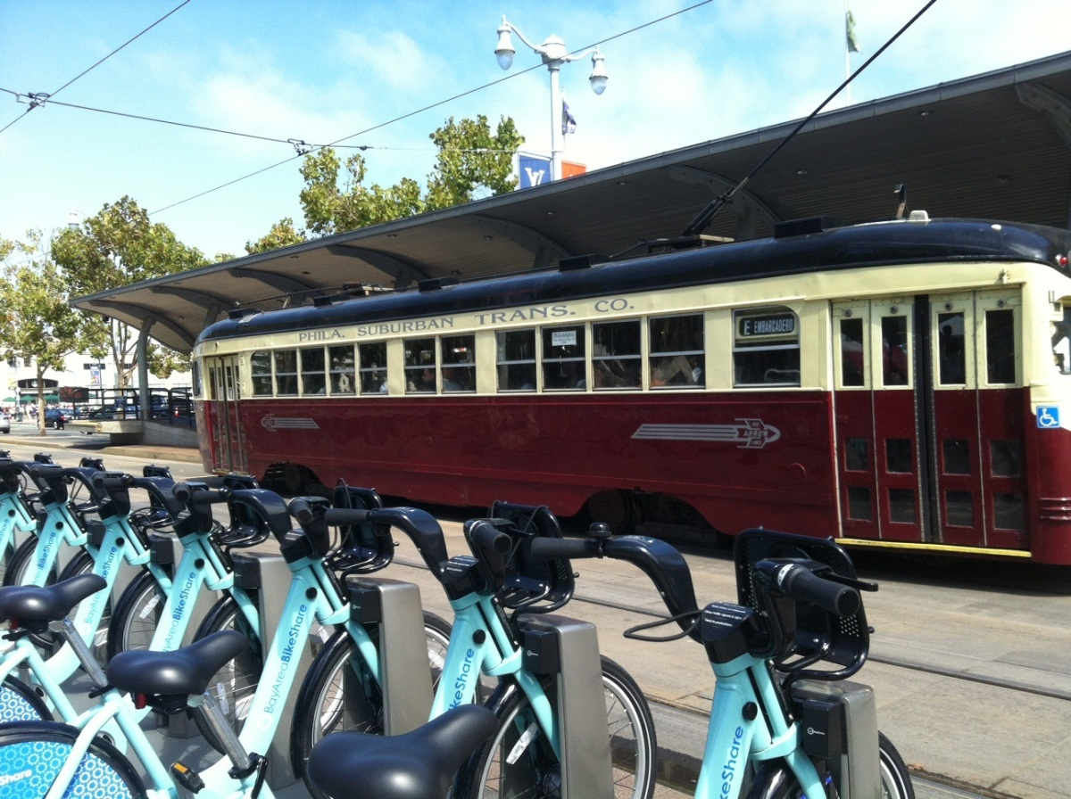 Tram and bikes along the waterfront