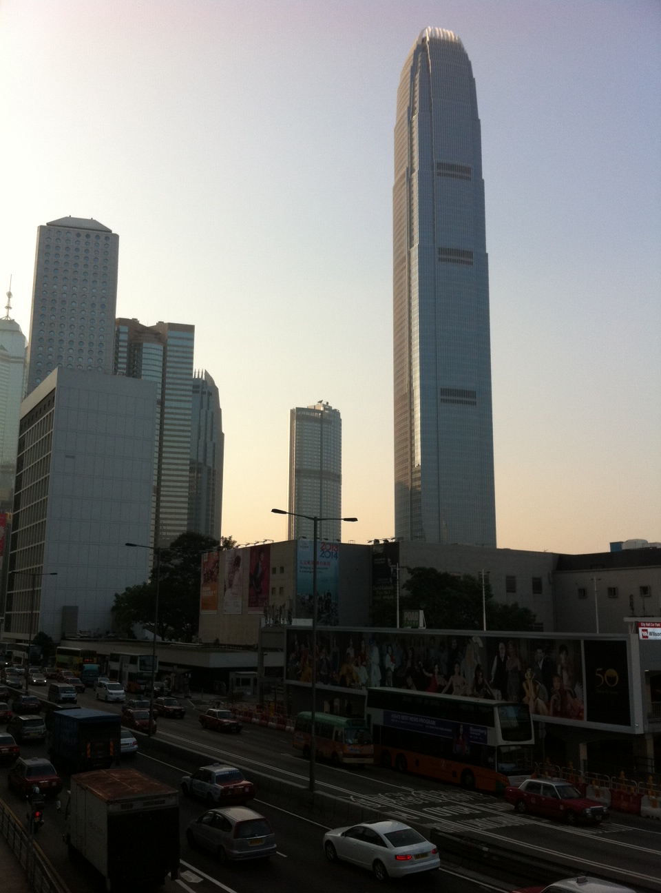 Evening view of the Central Business District in Hong Kong