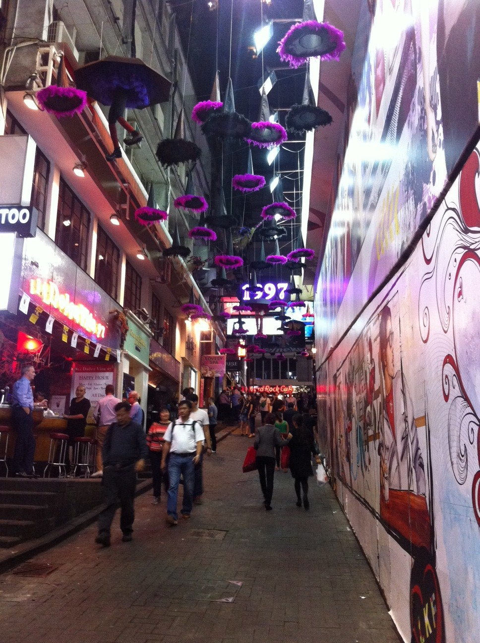 Boo!  This is Lan Kwai Fong, the famous bar area in Central, Hong Kong