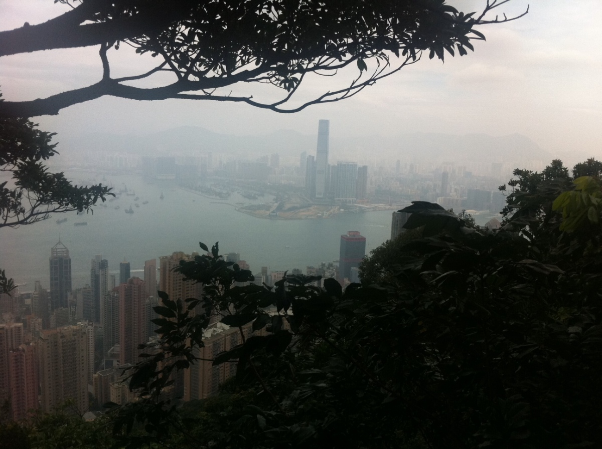 Hazy look of Kowloon from the Victoria Peak in Hong Kong