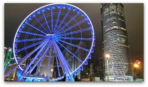 Hong Kong's latest attraction - Ferris Wheel near the Central Financial District