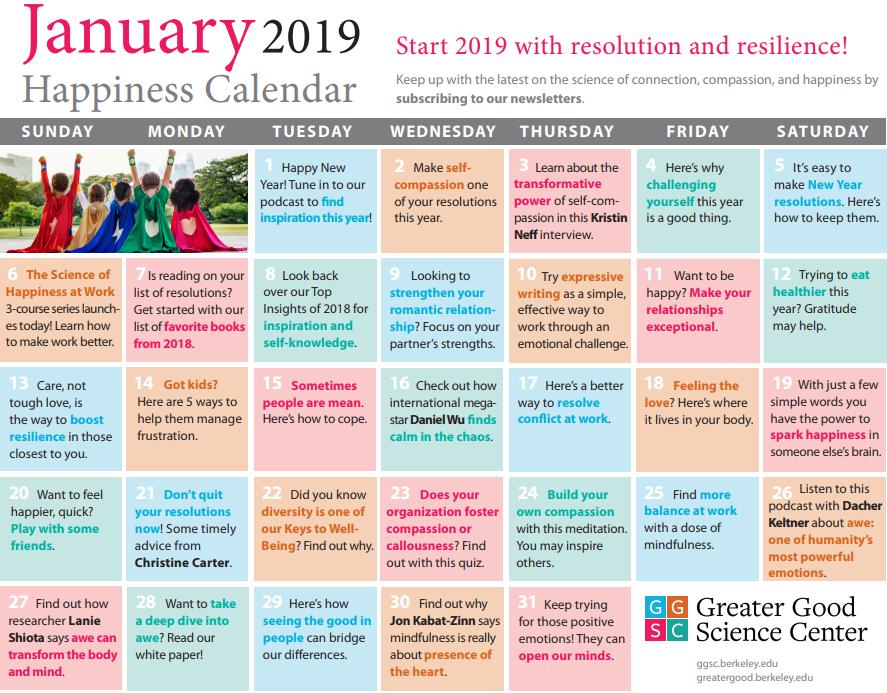 Jan 2019 Happiness Calendar