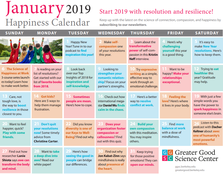 Jan 2019 Happiness Calendar